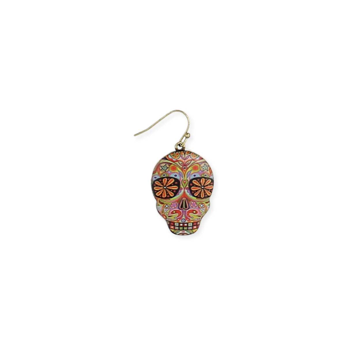 Psychadelic Design Skull Earring