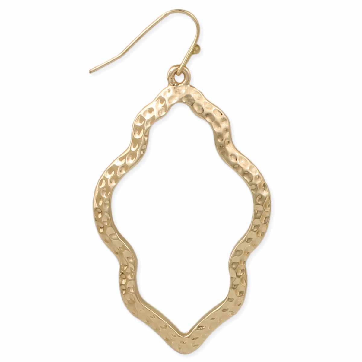Gold Hammere Quatrefoil Earring
