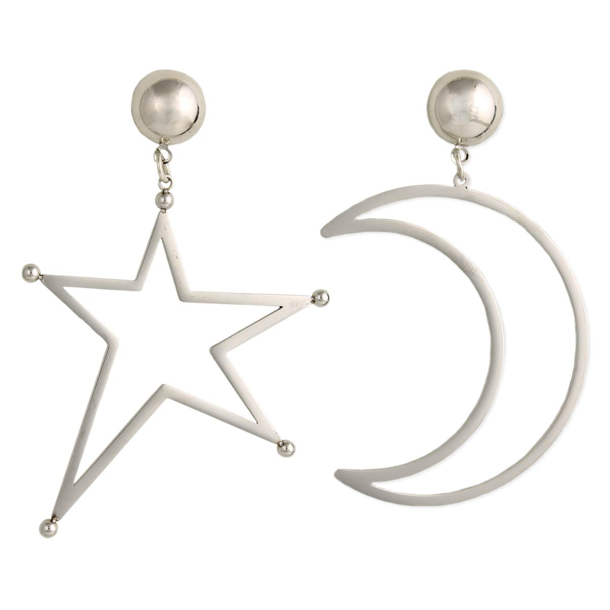 Silver Star & Moon Post Earrings