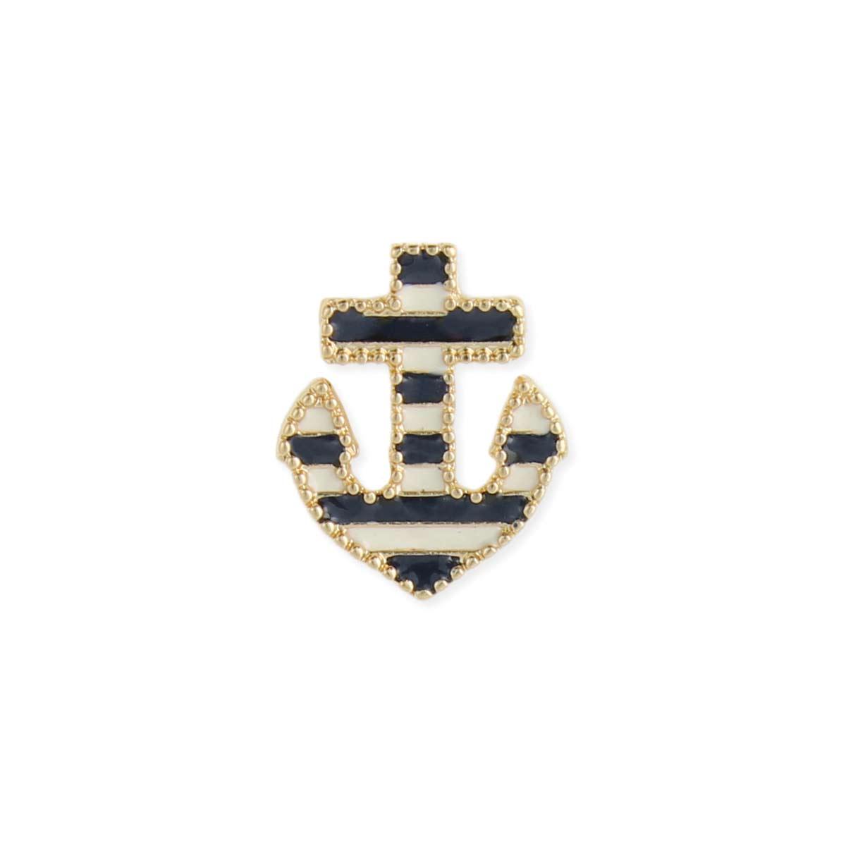Gold Border Blue & White Stripe Anchor Earring