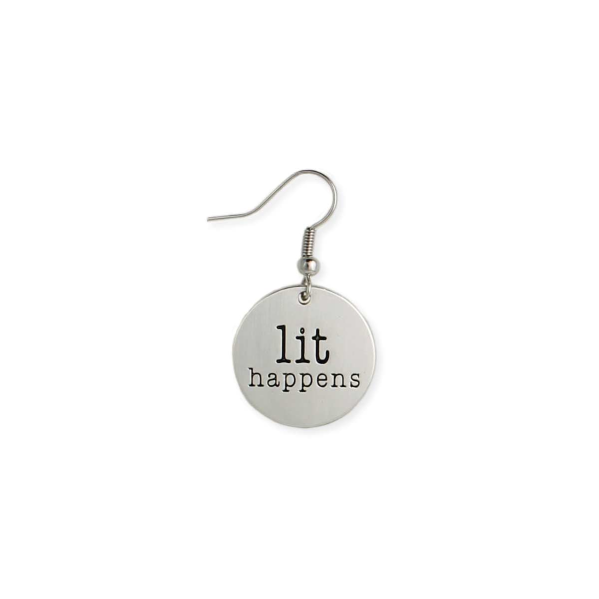 Round Silver Lit Happens Earring