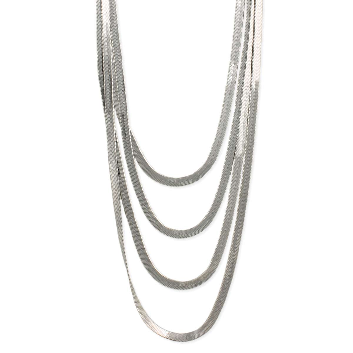 Silver Herringbone Chain Layer Necklace