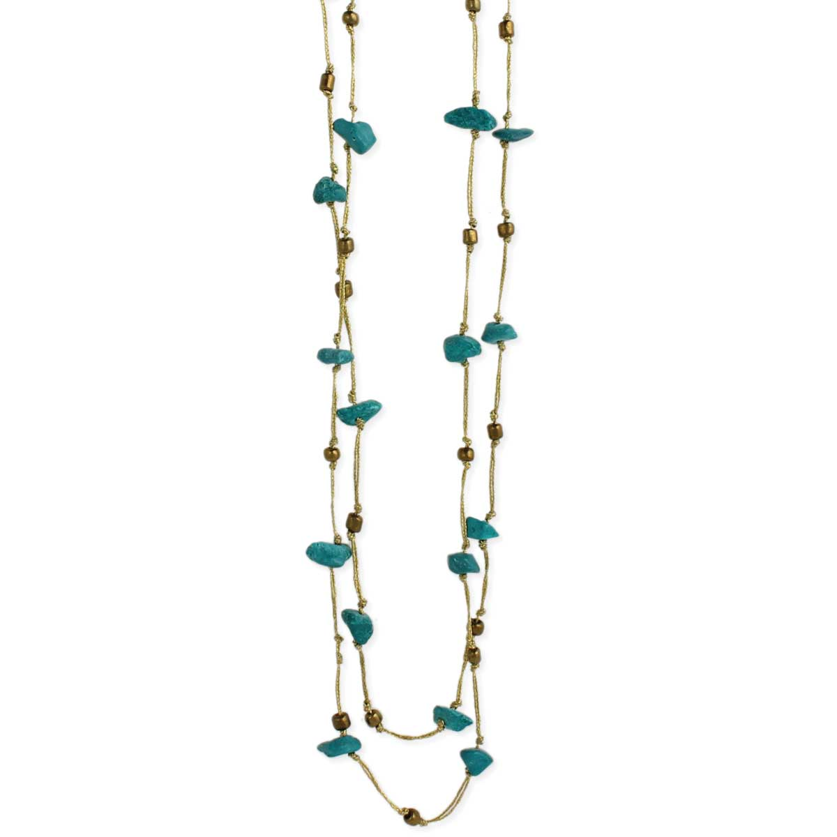 Metallic Thread & Turquoise Chip Necklace