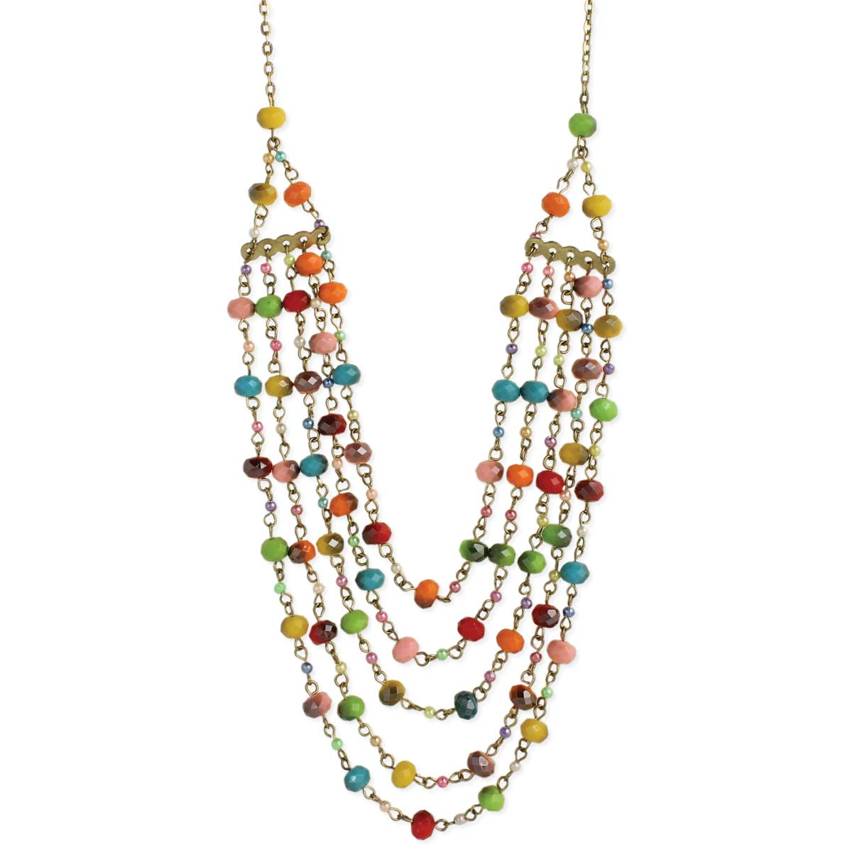 Gold & Multi Bead Layer Necklace