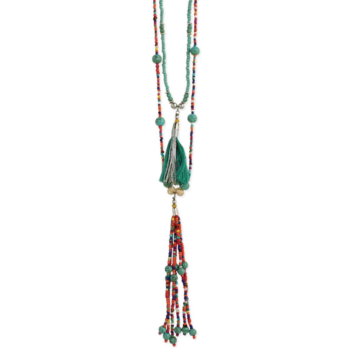 Turquoise & Multi Bead Tassel Necklace
