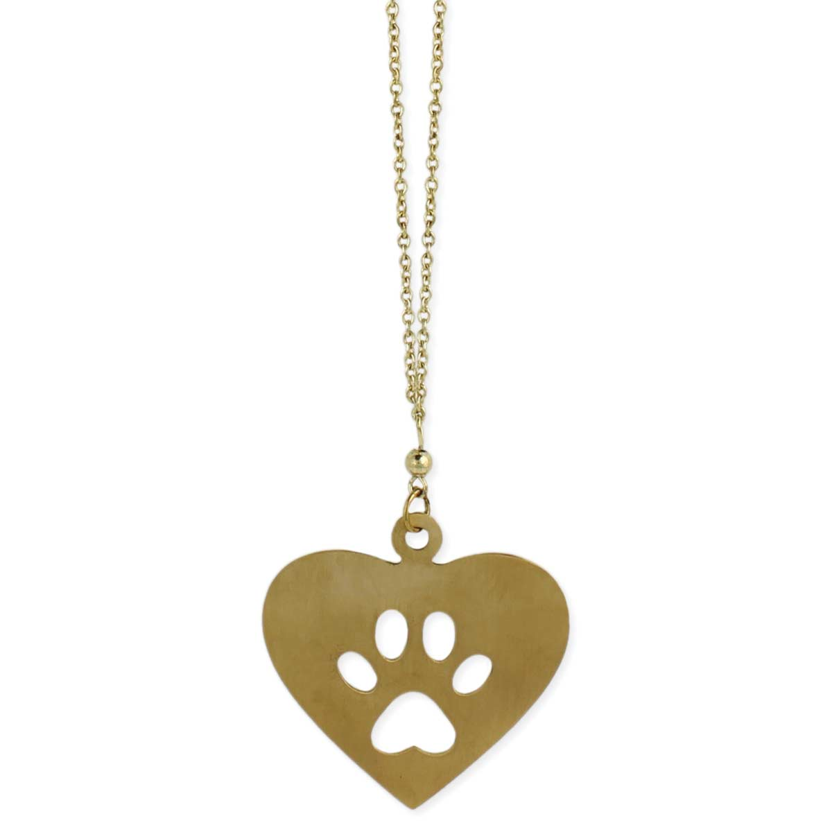 Gold Dog Paw Heart Necklace