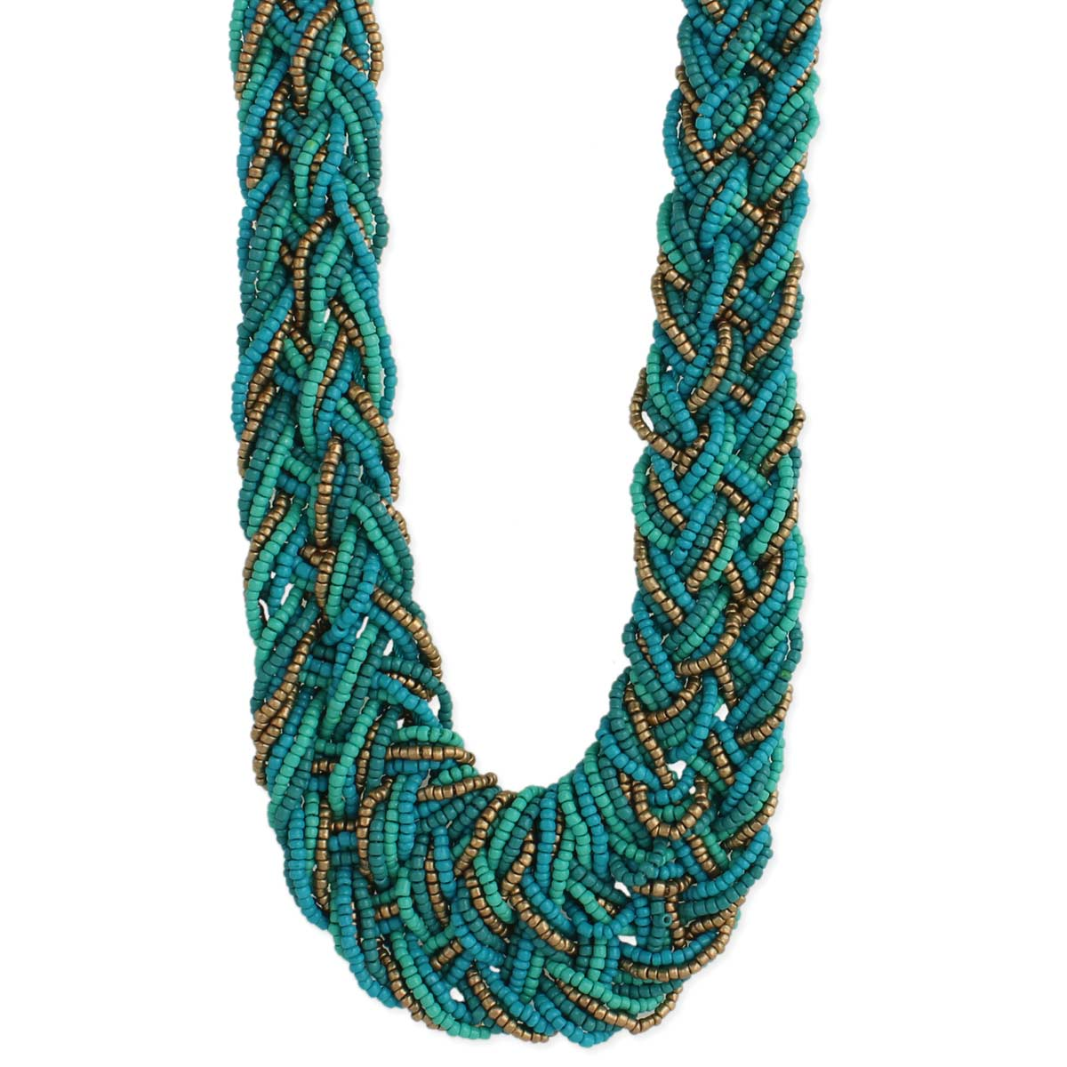 Turquoise Bead Braided Necklace