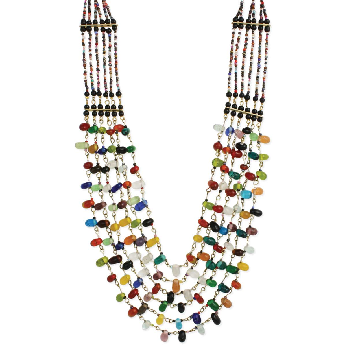 Multi Color Teardrop Bead Layer Necklace
