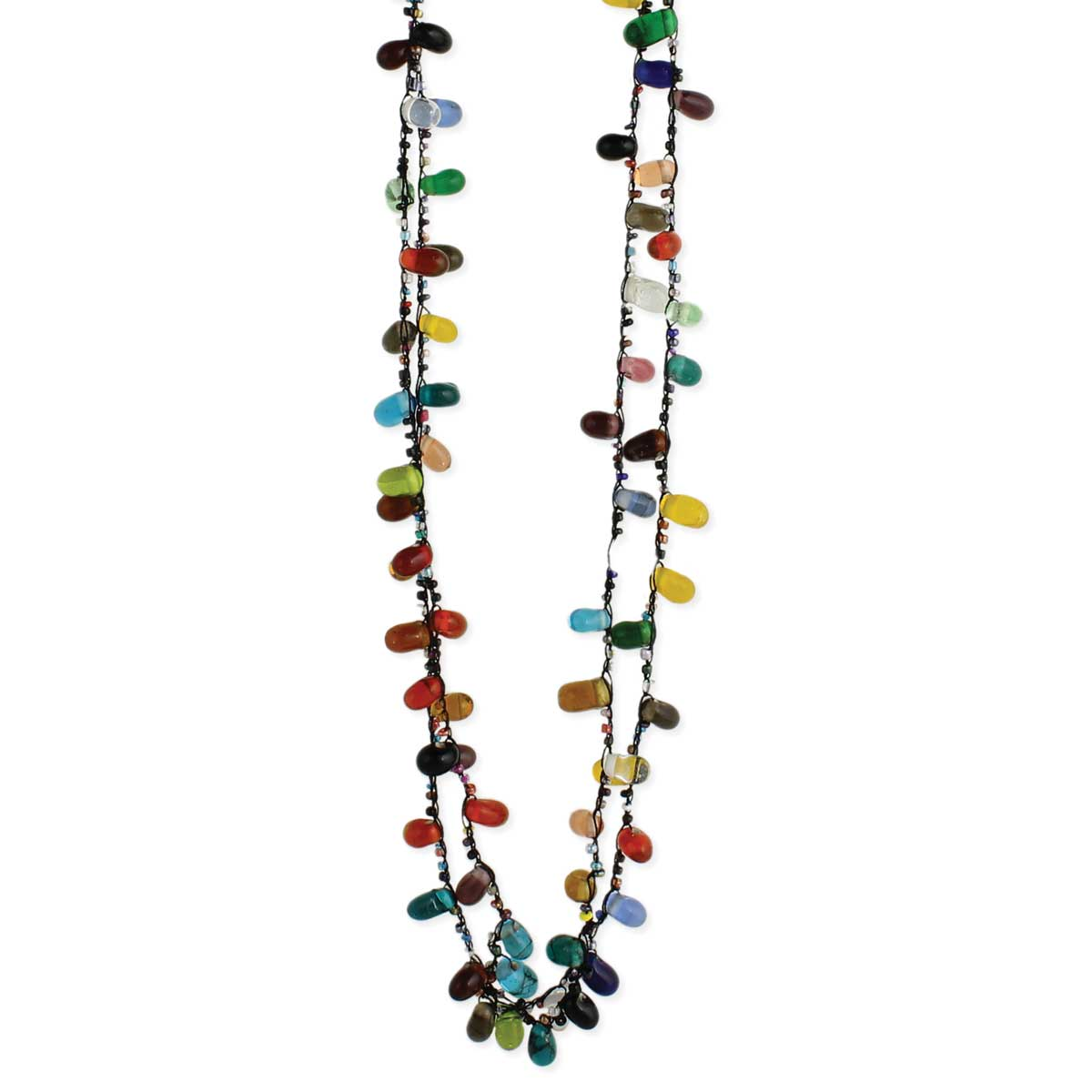 Black Thread Glass Bead Long Necklace