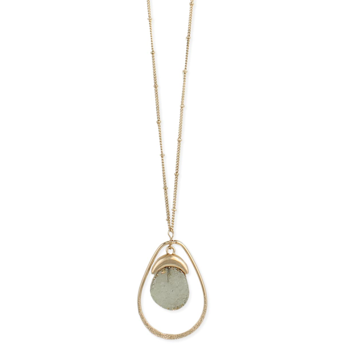 Long gold clear druzy teardrop pendant necklace mozeypictures Choice Image