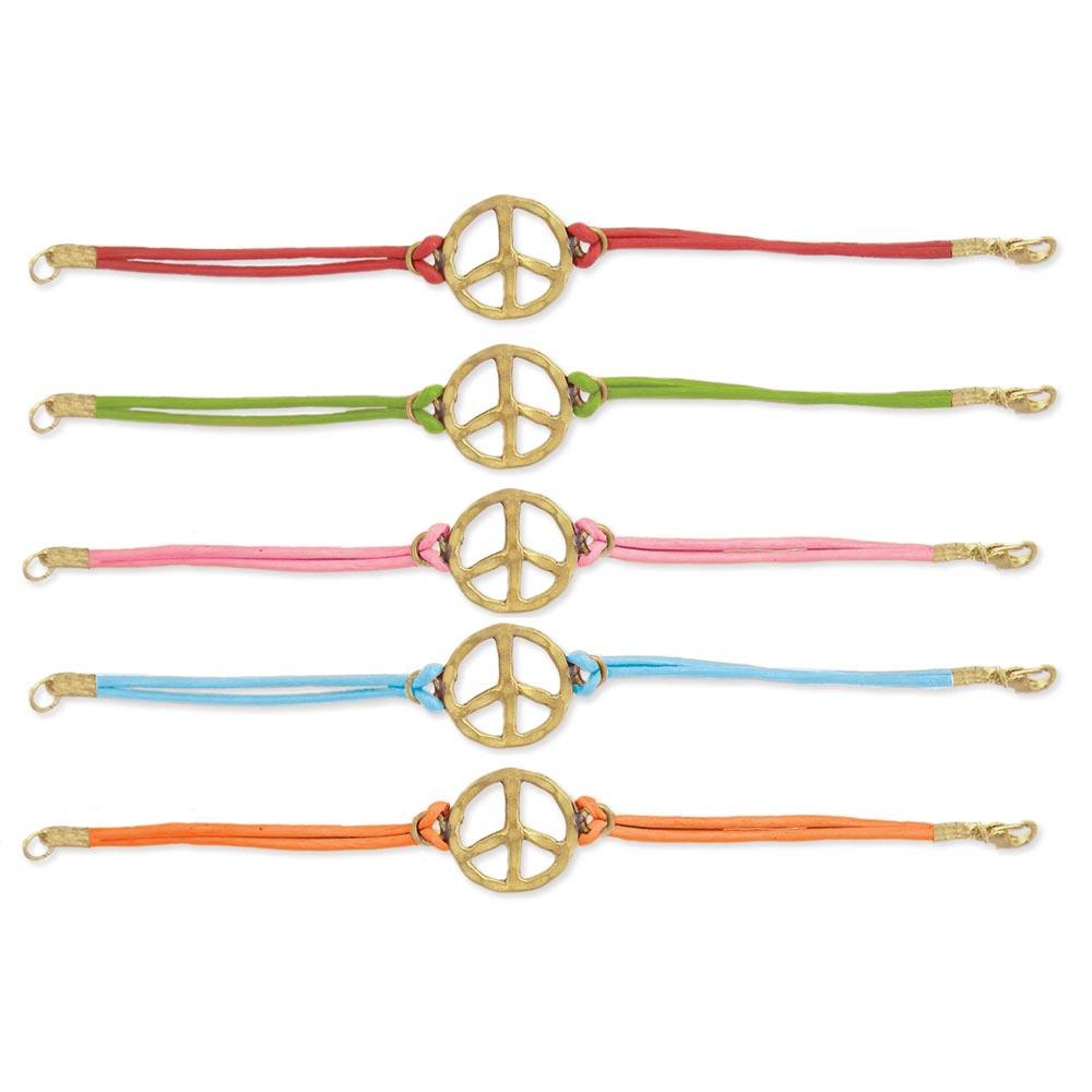 ''7'''' Gold Metal Color LEATHER Peace Bracelet''