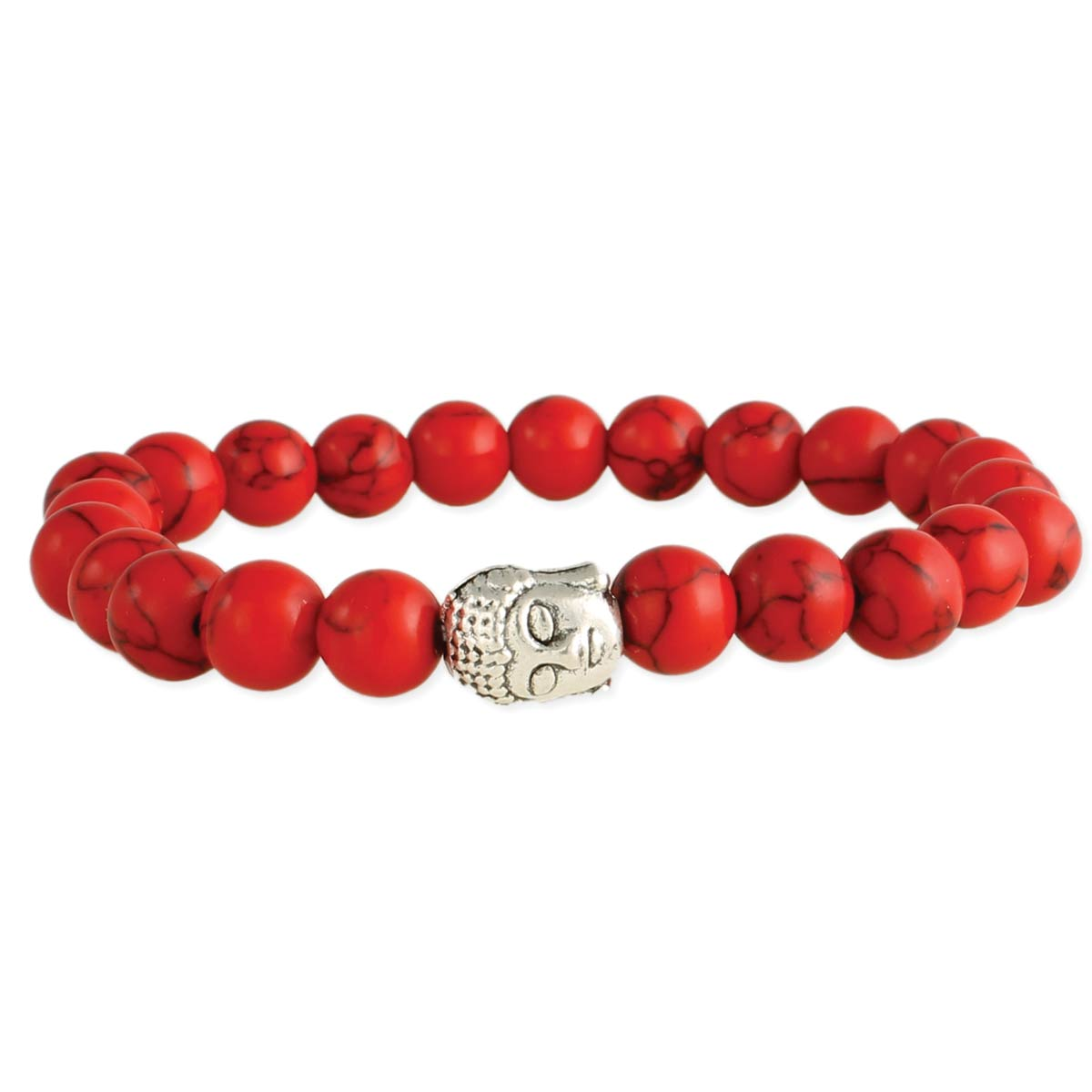 Red Bead  Buddha Head Stretch Bracelet