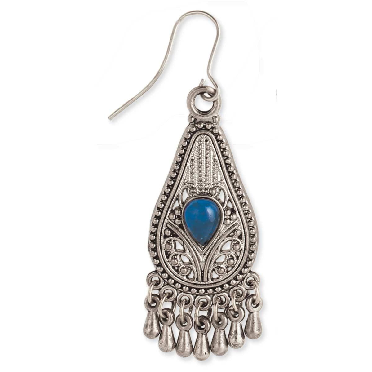 Silver & Blue Teardrop Dangle Earring
