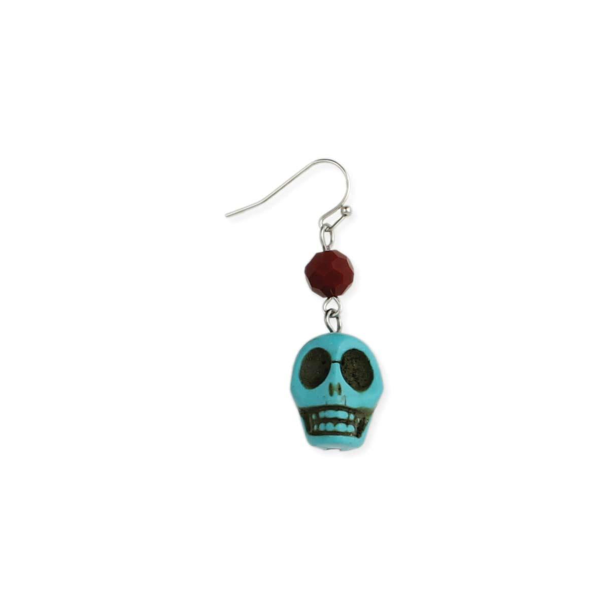 Turquoise Skull Red Bead Earring