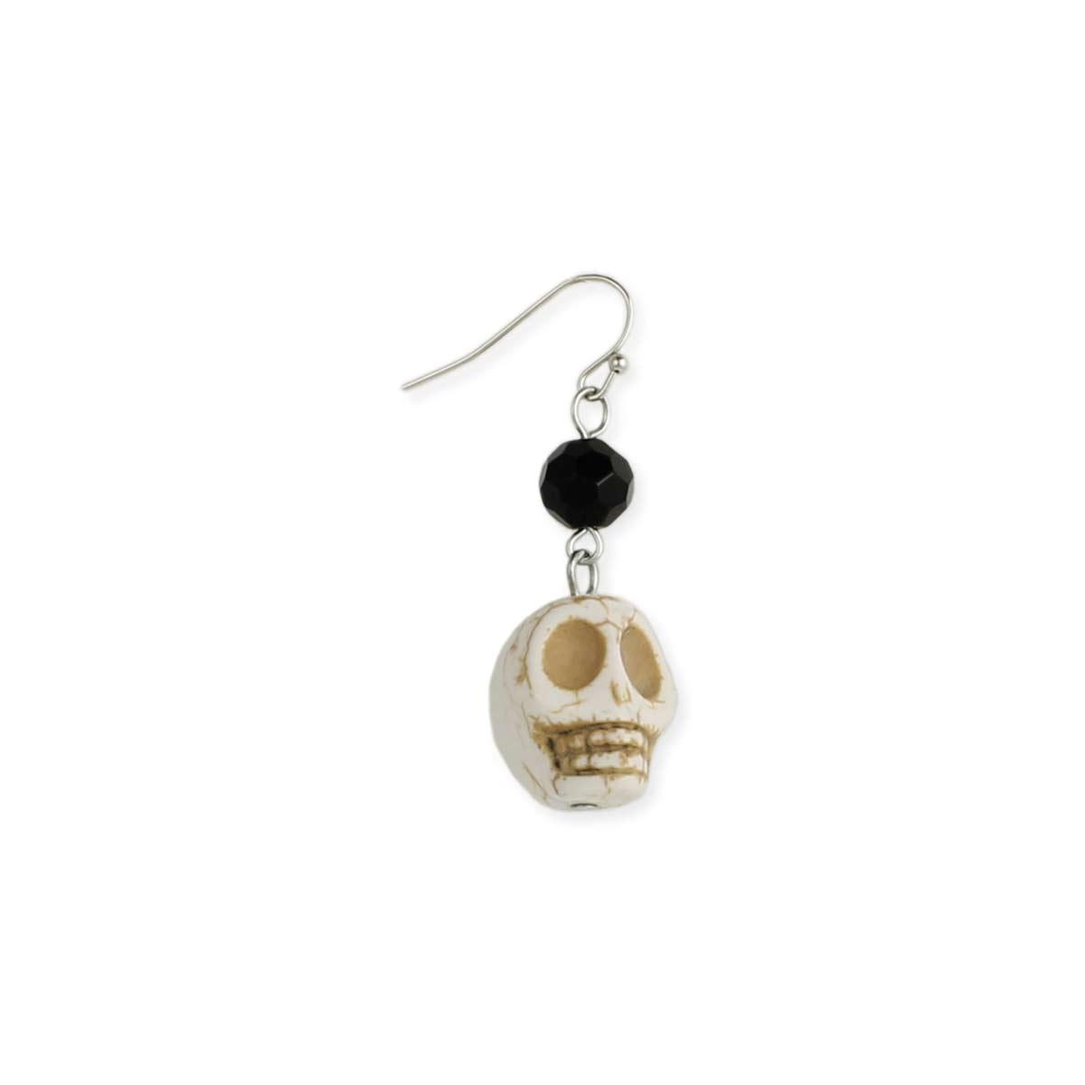White Stone Skull Earring