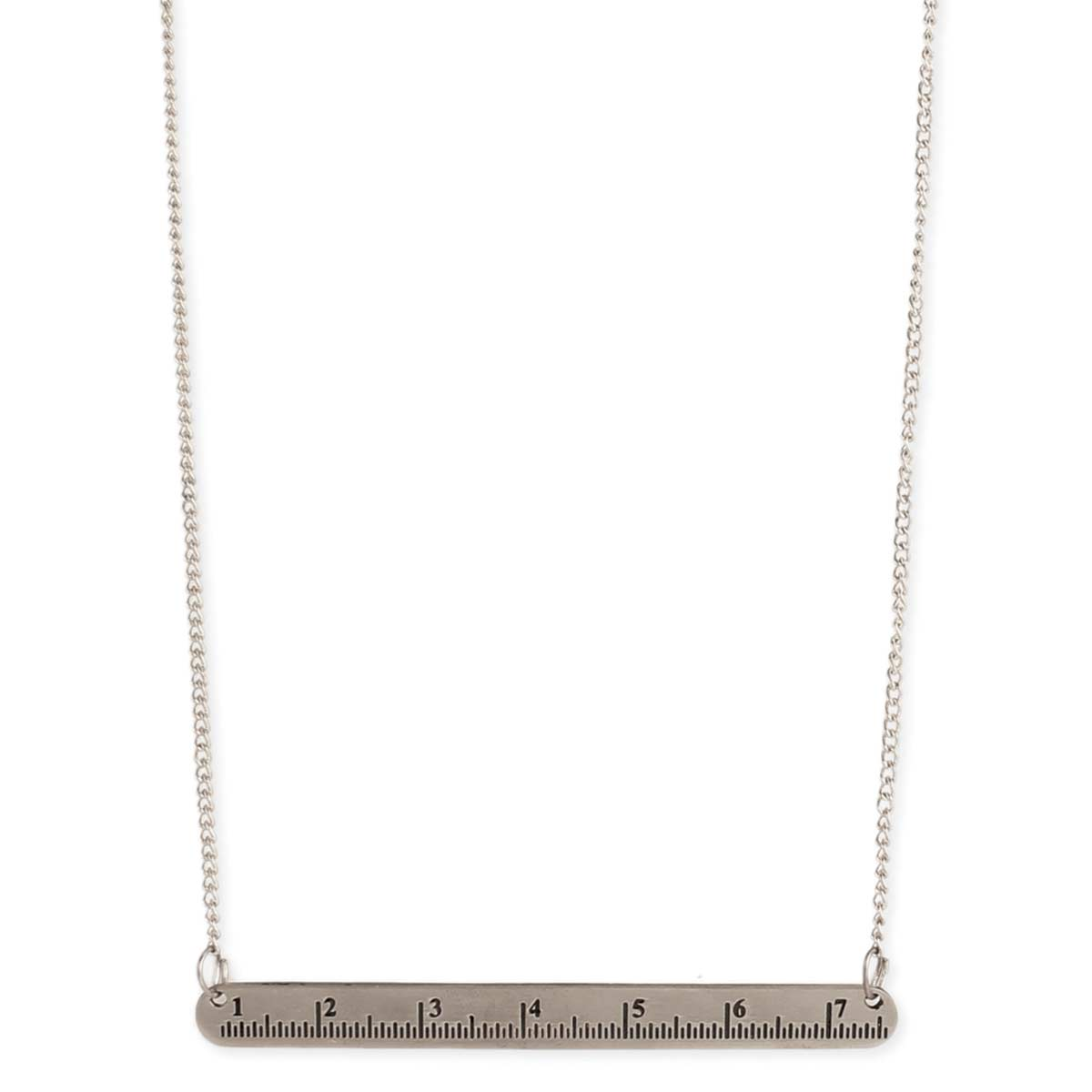 Silver Ruler Bar Pendant Necklace
