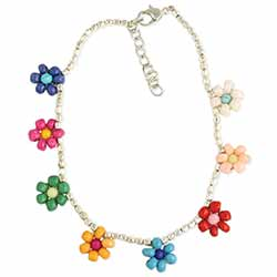 Daisy Chain Flower Bead Anklet