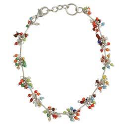 Colorful Cluster Bead Silver Anklet