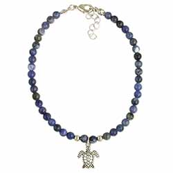 Wave Rider Sea turtle & Blue Stone Anklet