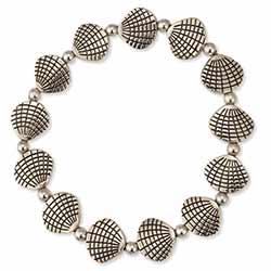 Summer Resort Silver Shell Stretch Bracelet