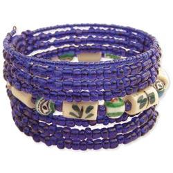8 Line Blue & Porcelain Bead Coil Bracelet
