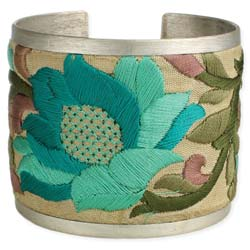 Turquoise Flower Embroidered Elegance Cuff Bracelet
