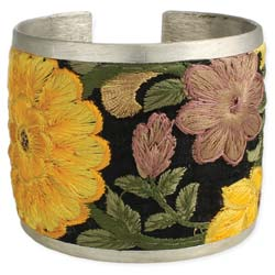 Yellow Flower Embroidered Elegance Cuff Bracelet