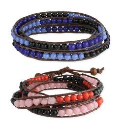 Tonal Colorblock Bead Wrap Bracelet