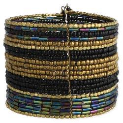 Black & Gold Bead Wide Cuff Bracelet