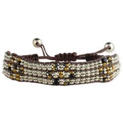 Silver & Gold Bead Pull Bracelet