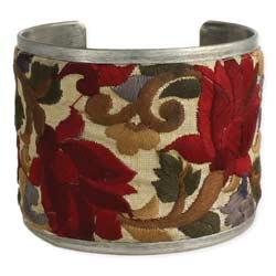 Red Flower Embroidered Elegance Cuff Bracelet
