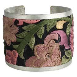 Purple Flower Embroidered Elegance Cuff Bracelet