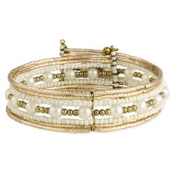 Not Your Grandmother's Pearl & Gold Cuff Bracelet