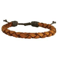 Vintage Brown Leather Braided Men's Bracelet