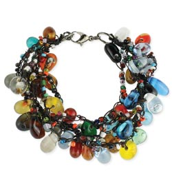 Glass Bead Drop Black Thread Bracelet