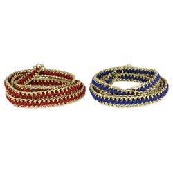 Gold Chain & Color Ribbon Wrap Bracelet