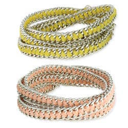 Silver Chain & Color Ribbon Wrap Bracelet