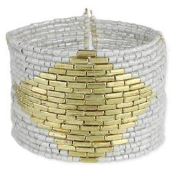 White Bead Gold Diamond Cuff Bracelet