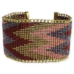 Wide Gold Chevron Seed Bead Bracelet