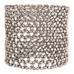 Silver Open Weave Wide Stretch Bracelet