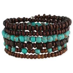 Wood & Turquoise Bead Coil Bracelet