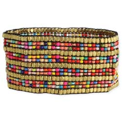 Wide Gold & Multi Color Bead Stretch Bracelet