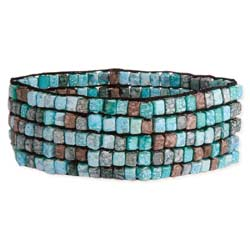 Turquoise Hue Watercolor Bead Stretch Bracelet