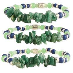 Freshly Mined Green Stone Stretch Bracelet Set of 3