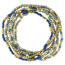 Denim Blues & Gold Stretch Bracelet Set