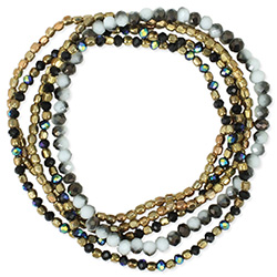 Marbled Black White Gold Stretch Bracelet Set