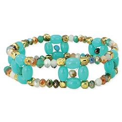Soft Vintage Turquoise Gold Bead Stretch bracelet