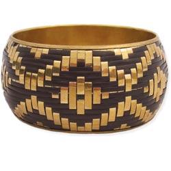 Gold & Black Woven Bangle