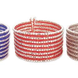 15 Line Silver Metal & Color Seed Bead Cuff Bracelet