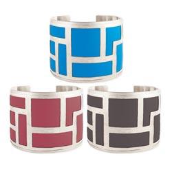 Silver Geometric Color Cuff Bracelet